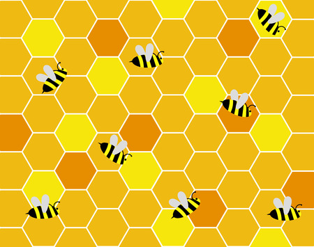 bee on flower: Bees in the Hive Illustration