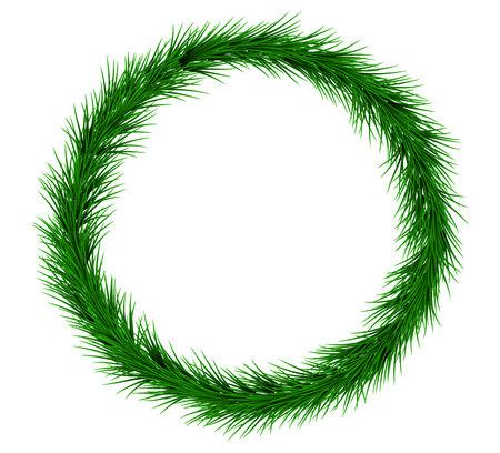 Christmas Fir Wreath Isolated on White