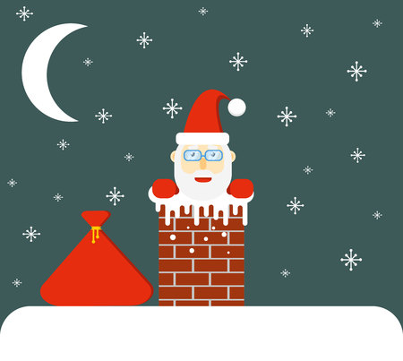 Smiling Santa Looking out of Chimney Flat Design
