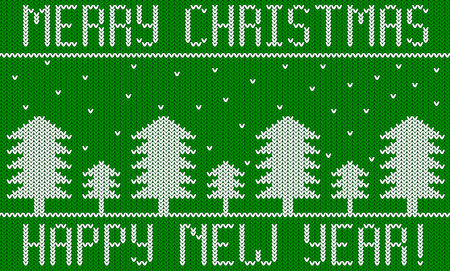 Knitted New Year Christmas Theme with Fir Trees Green