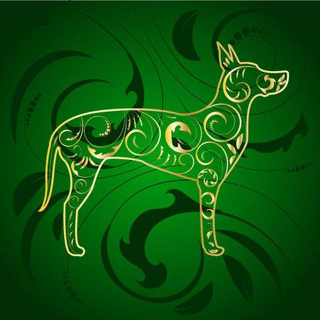Golden Ornamental Dog Great Dane Silhouette on Green