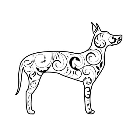 Great Dane Dog Silhouette with Ornament in Black