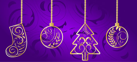 Ornamented Winter Holiday Props Baubles Fir Tree Sock Purple Illustration