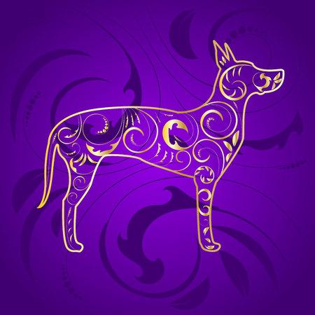 Golden Ornamental Dog Great Dane Silhouette on Purple Stock Photo