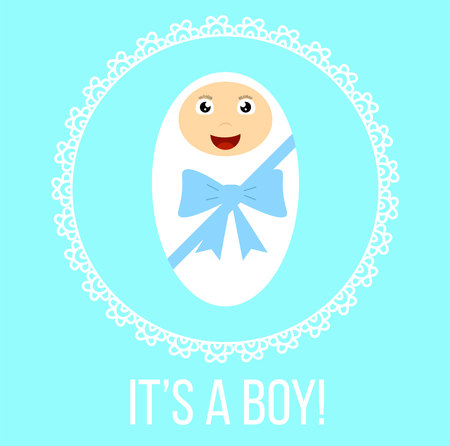 Boy Newborn Baby in Decorative Frame Illustration