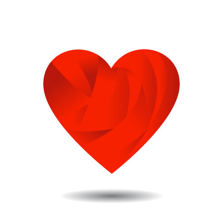 Abstract Red Heart with Shadow on White illustration. Illustration