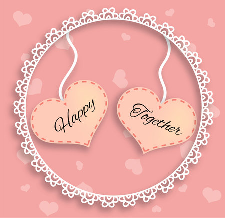 Two Pink Hearts in Frame with Happy Together Lettering Illustration