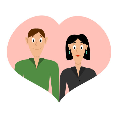 Loving Couple in a Heart Shaped Frame. Illustration