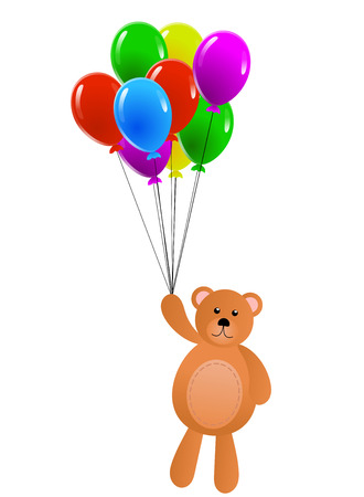 Teddy Bear Flying on Colorful Balloons Isolated