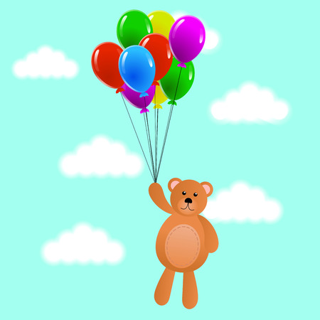 Teddy Bear with Colorful Balloons in the Sky
