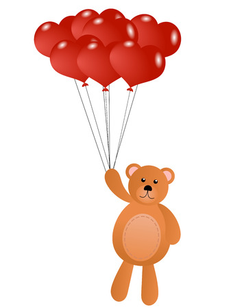 Teddy Bear with Red Heart Shaped Balloons