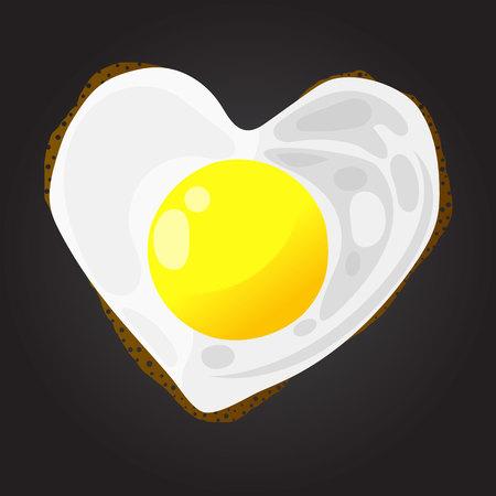 Heart Shaped Fried Egg on Black Background Illustration