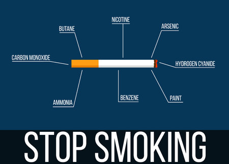 Stop Smoking Cigarette with List of Dangerous Chemicals Illustration