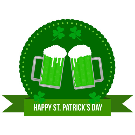 Happy St. Patricks Round Banner Badge with Pints of Green Beer Flat Illustration