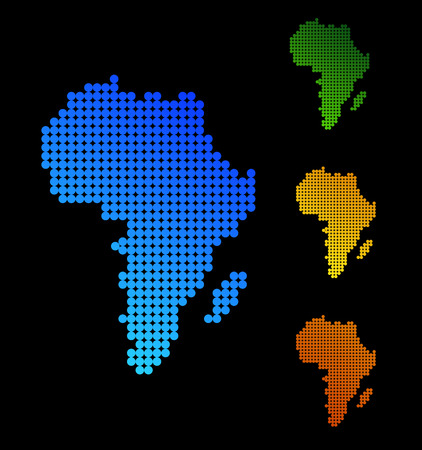 Abstract African Continent Silhouette Different Colors Vectores