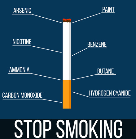 Stop Smoking Cigarette with List of Dangerous Chemicals Ilustracja