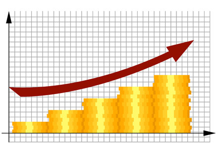 Gold coins with rising business sales graph. Illustration