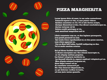 Pizza margherita top view flat style recipe copy space.