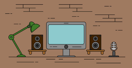 Home Recording Studio with Speakers and Microphone Flat. Illustration