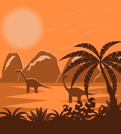Dinosaurs in Prehistoric Jurassic Park Flat Landscape