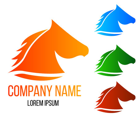 Horse Head in Different Colors. Illustration