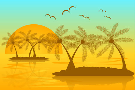 Tropical Islands Silhouette with a Sunset and Flying Birds