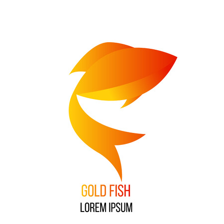 Abstract Gold Fish Logo Illustration