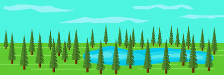 木々の中に湖がある緑のモミの木の森