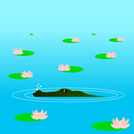 Crocodile Hiding in the Ambush in the Water Among Lilies. Ilustração