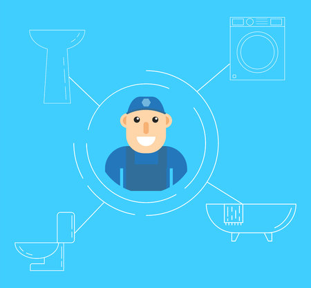 Plumber Services Flat Design vector illustration.