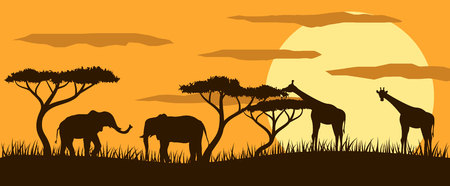 Giraffen en olifanten in Savannah bij zonsondergang vlakke stijl