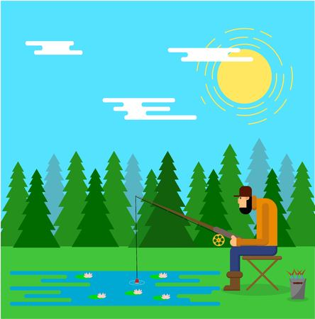 Fisherman Catching Fish Outdoors in a Forest Lake