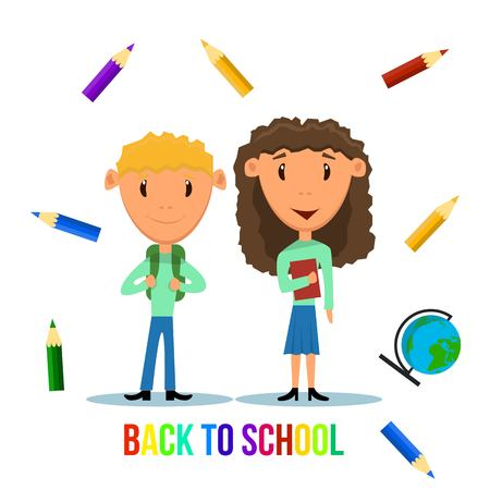 Boy and Girl Characters Happy and Ready to go Back to School Illustration
