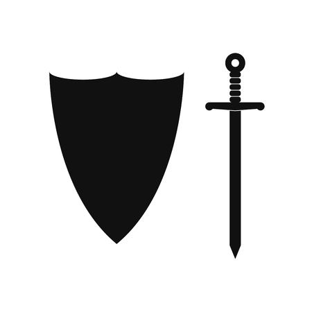 Sword and shield silhouette isolated Illustration