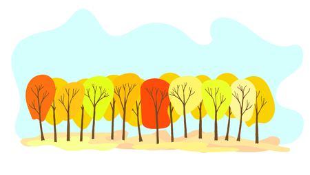 Beautiful colorful foliage in autumn grove