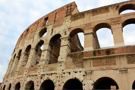 Detail of Roman Coliseum Walls Stock Photo