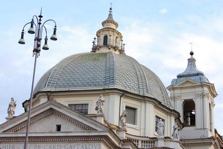 Santa Maria in Montesanto Church dome at Piazza del Popolo