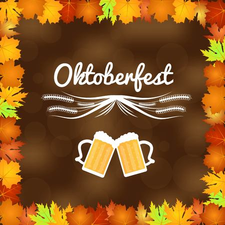 Oktoberfest Illustration with Background Bokeh and Maple Leaves