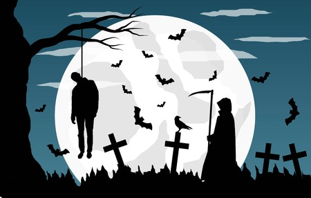Graveyard with Hangman and Grim Reaper in the Moonlight