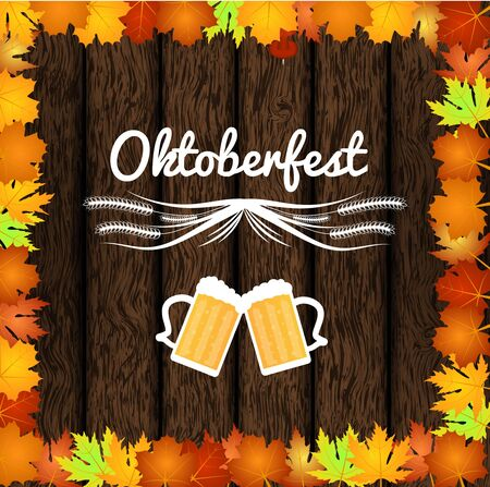 Oktoberfest Illustration with Background Wood, Beer Pints and Maple Leaves.