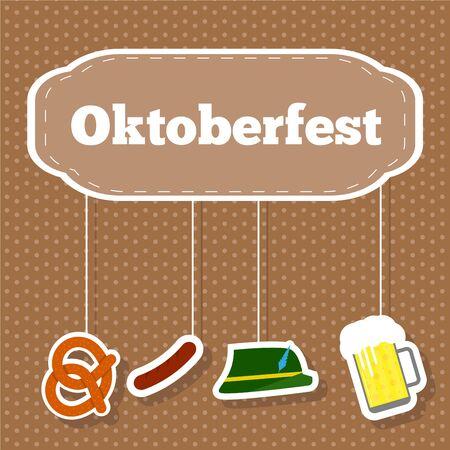Oktoberfest Illustration with Hanging Sausage Beer on Polka Dot