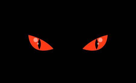 Evil red colored eyes in darkness Illustration