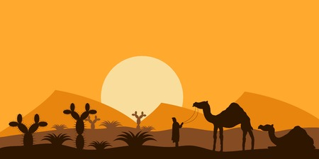 Desert Landscape with a Nomad and Camels Illustration Illustration