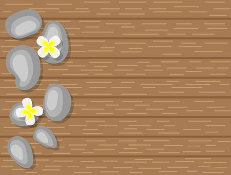 Spa Pebbles and White Flowers on Wooden Background Top View
