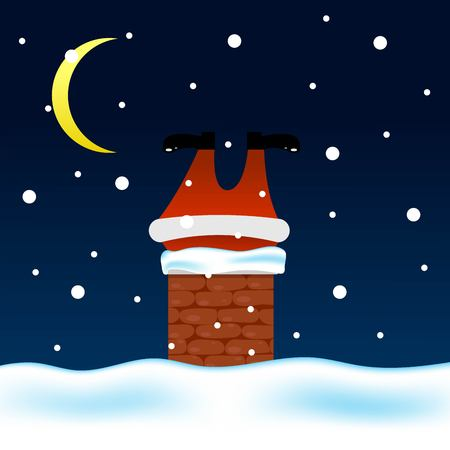 Santa Climbing Through Chimney at Night Got Stuck