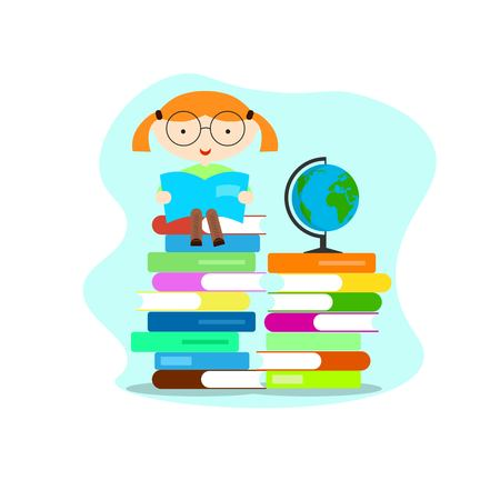 Smart Educated Girl Reading Books with Globe  イラスト・ベクター素材