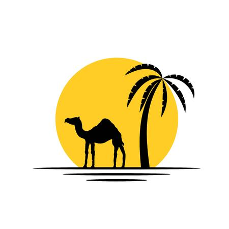 Camel and Palm Tree in the Sunshine Silhouette Icon Vetores