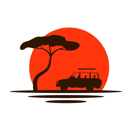 Safari Car and Tree in Savannah Sunlight Icon Фото со стока - 114325543
