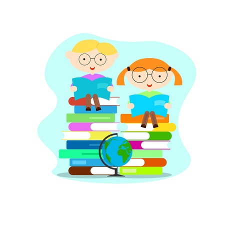Smart Educated Boy and Girl Reading Books