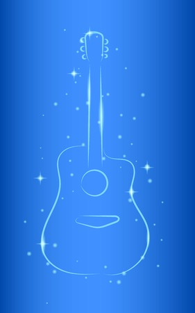 Guitar Outline Silhouette on Shiny Glossy Blue Background Illustration